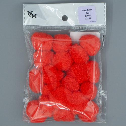 Pom Poms - 30mm Red
