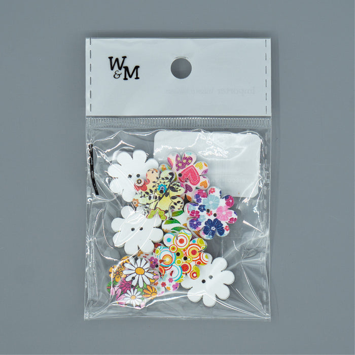 Buttons - Printed Flowers