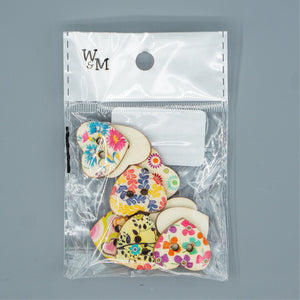 Buttons - large Printed Hearts