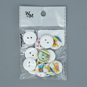 Buttons - medium Printed Elephants