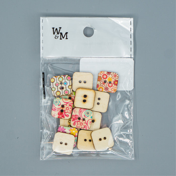 Buttons -  small Printed Squares