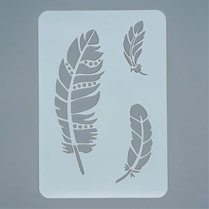 Stencil - Mixed Feather Trio