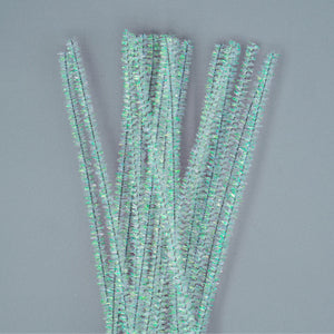 Chenille Sticks 6mm - White Tinsel