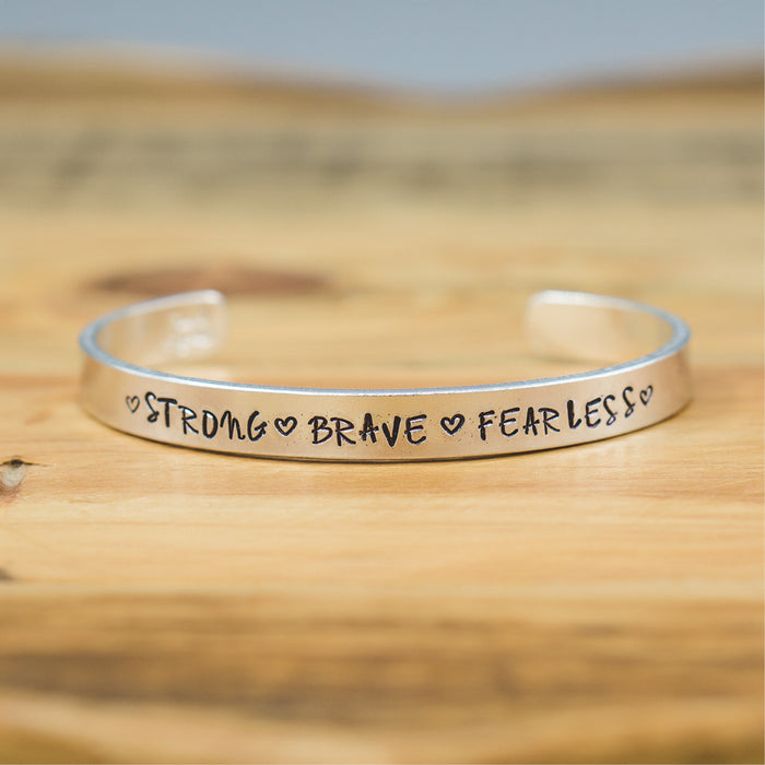Bangle - Strong Brave Fearless (uppercase)