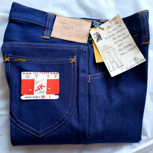 Tee Kay Vintage Deadstock, Made in Thailand. Denim, Bellbottom Jeans. NWT 27