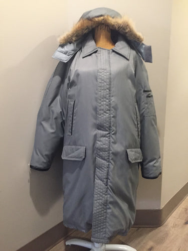 "Kingspier Vintage - Sears ""The Men's Store"" grey/ blue down filled parka with genuine fur and leather trim, hood, zipper and button closures, slash pockets and flap pockets. Size. 44 tall."