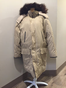 "Kingspier Vintage - Retreat down filled parka in beige with fur trimmed hood, leather trim, slash pockets and flap pockets and zipper closure. Size 37.5"" (chest)."