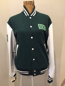 "Roots ""Sobey's Centenary Anniversary"" '07 varsity jacket in green and white with snap closures, slash pockets, knit trim, embroidered ""100"" emblem on the chest and ""07"" on the arm."