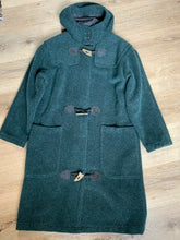 "Load image into Gallery viewer, ""The Woolrich Woman"" dark teal wool and mohair blend duffle coat with hood, pockets, three wooden toggles, inside snaps and a leather Woolrich label. Made in the USA. Fits a size small."