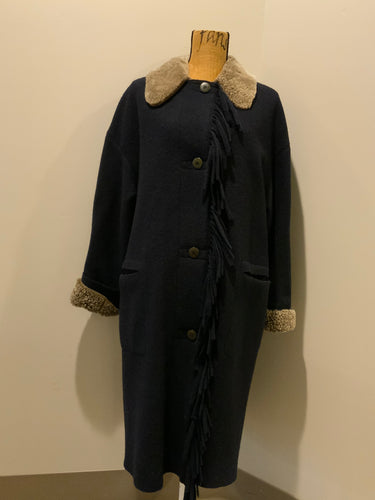 Kingspier Vintage - Hilary Radley navy blue 100% pure virgin wool coat with synthetic shearling collar and cuffs , pockets, button closures and a unique front fringe. Size 8.