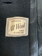 Load image into Gallery viewer, Kingspier Vintage - All Wool Full length black soft wool coat with button closures and front pockets. Made in England.
