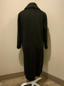 Kingspier Vintage - All Wool Full length black soft wool coat with button closures and front pockets. Made in England.
