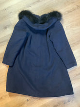 Load image into Gallery viewer, Braemar Petites by Jeremy Scott 1980's/ 1990's wool blend coat in navy blue with synthetic fur trim around the hood. Features hidden button closures down the front and slash pockets. Made in Romania