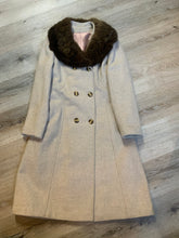 Load image into Gallery viewer, Iconic Canadian brand Sears The Fashion Place 100% pure virgin wool coat in beige with fur trim collar. This coat is double breasted with buttons, front pockets and a lovely belt detail in the back.