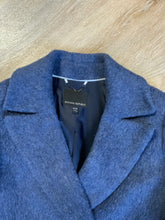 Load image into Gallery viewer, Banana Republic navy blue ombre silky soft wool blend coat, double breasted with front pockets. Fits a size medium.