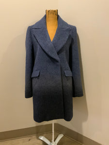 Banana Republic navy blue ombre silky soft wool blend coat, double breasted with front pockets. Fits a size medium.
