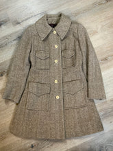 Load image into Gallery viewer, Wool herringbone car coat with front buttons and four front flap pockets. Union made in Canada.