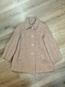 Kingspier Vintage - D'allavid's beige/pink wool car coat with pink front buttons and welt pockets. Made in Canada. Fits a size small.