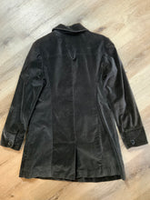 Load image into Gallery viewer, Mossimo dark brown velvet car coat with decorative buttons, snap closures and flap pockets. Fits a size large.