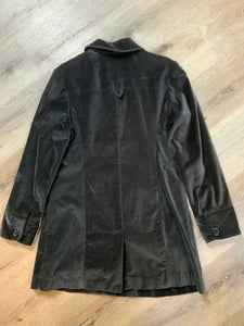 Mossimo dark brown velvet car coat with decorative buttons, snap closures and flap pockets. Fits a size large.
