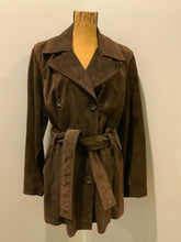 Load image into Gallery viewer, Andrew Marc dark brown suede double breasted trench coat with belt and welt pockets. Fits a size large.