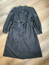 Load image into Gallery viewer, J.Gallery Petite water repellent black single breasted trench coat with belt, button closures, welt pockets. pleated detail in shoulders and zip out quilted lining. Size 12 petite.