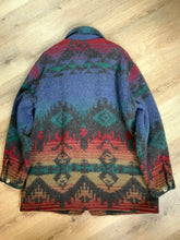 Load image into Gallery viewer, Kingspier Vintage - Woolrich blue, green, red design wool coat with silver buttons, flap pockets. Made in the USA. Size XL.