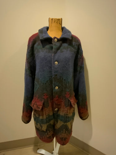 Woolrich blue, green, red design wool coat with silver buttons, flap pockets. Made in the USA. Size XL.