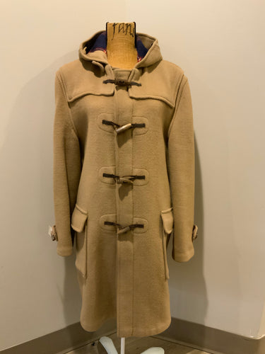 Gloverall Tan wool blend coat with hood, zipper, flap pockets and plaid lining. Made in England. Size 40.