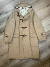 Load image into Gallery viewer, Tip Top beige textured wool duffle coat with hood, zipper, wooden toggles and flap pockets. Size 38.