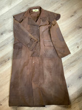Load image into Gallery viewer, Driza - Bone Brown full length waxed canvas riding coat with cape shoulder detail, patch elbows, snap closures and flap pockets. The waxed canvas protects you from the elements. Made in Australia. Mens size 4.