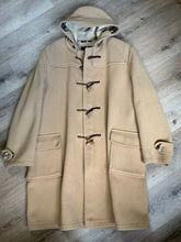 Load image into Gallery viewer, Kingspier Vintage - Gloverall tan wool duffle coat with hood, zipper, wooden toggles and flap pockets. Made in England. Size 50L.