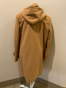 UTEX tan wool blend duffle coat with detachable hood, zipper, wooden toggles, flap pockets and a tartan lining which contains two inside pockets. Made in Bulgaria. Size 40.