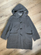 Load image into Gallery viewer, Italian grey wool blend duffle coat with detachable hood, wooden toggles and flap pockets. Made in Italy Size 14.