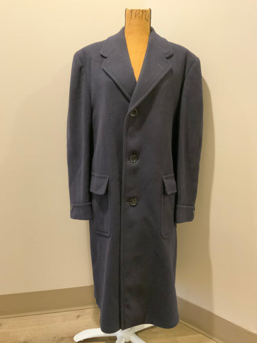 "Eaton's Clothes navy Crombie Wool overcoat with button closures and flap pockets. Inside pocket and monogram ""Fredrick S Richardson""."