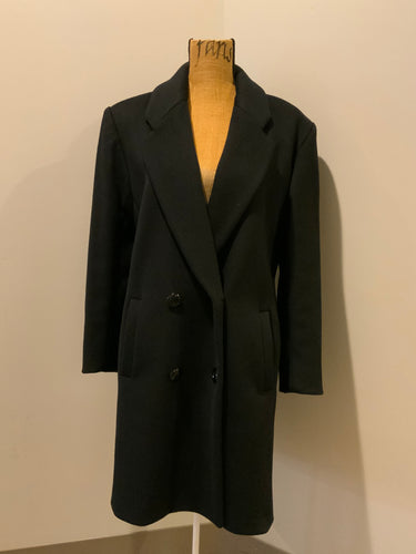 Lindzon Black 100% pure virgin wool double breasted overcoat with slash pockets. Made in Canada.