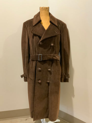 London Fog brown corduroy double breasted trench coat with wooden buttons, slash pockets, two belt options and zip out wool lining.