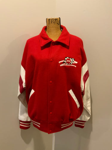 EIS red letterman's jacket with white leather arms, race flag embroidered emblem, snap closures and slash pockets. Size large.