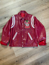 Load image into Gallery viewer, Mess Champs (Greenwood) Baseball red letterman's jacket with white stripes , embroidered emblem on chest, snap closures and slash pockets. Size 42.