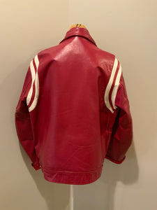 Mess Champs (Greenwood) Baseball red letterman's jacket with white stripes , embroidered emblem on chest, snap closures and slash pockets. Size 42.