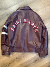 "Load image into Gallery viewer, Saint Mary's Letterman Jacket in Burgundy with ""Saint Mary's"" written across the back, snap closures, slash buttons, zip out lining and inside pocket. Made in Canada. Size 44."