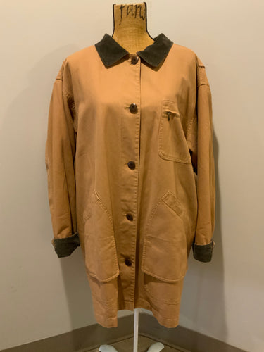 L.L.Bean tan field jacket with green corduroy collar and cuff, four front patch pockets button closures, removable plaid wool blend liner. Size 2XL women's.