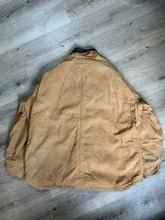 Load image into Gallery viewer, Dickies canvas work jacket with green corduroy collar, patch pockets, zipper, Velcro closures, quilted lining, an inside drawstring at the waist and an inside pocket.