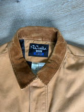 Load image into Gallery viewer, Wall's Work Wear canvas work jacket with brown corduroy collar, zipper and snap closures, two front patch pockets and flap pockets, inside quilted lining with knit inside cuffs to keep the cold from getting in.