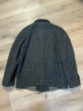 Load image into Gallery viewer, Enrico Celli grey plaid wool harrington jacket with zipper, three slash pockets and a quilted olive colour lining. Made in Italy.