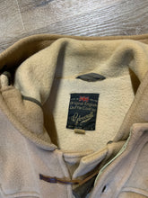 Load image into Gallery viewer, Kingspier Vintage - Gloverall tan wool duffle coat with hood, zipper, wooden toggles and flap pockets. Made in England. Size 42.
