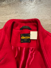 Load image into Gallery viewer, Electre Paris red wool car coat with red button closures, welt pockets and subtle detailing on shoulders. Made in Canada