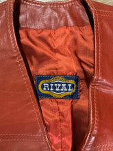 Load image into Gallery viewer, Rival rust leather vest with snap closures and patch pockets.