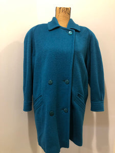 Kingspier Vintage - Marks & Spencer 1980's mohair and wool blend, double breasted teal coat. Fits a size 10.