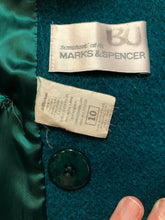 Load image into Gallery viewer, Marks & Spencer 1980's mohair and wool blend, double breasted teal coat. Fits a size 10.